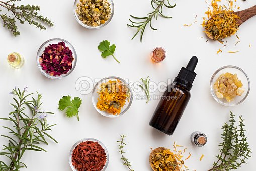 Bottles of essential oil with herbs and flowers on a white background : Foto stock