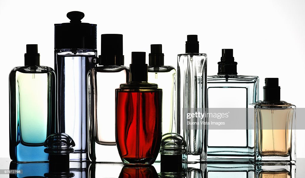 Bottles of fragrances : Stock Photo