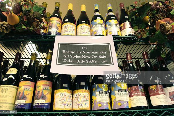 Bottles of French Beaujolais Nouveau sit on display at Holiday Market November 18 2004 in Royal Oak Michigan More Than 85000 bottles of the popular...