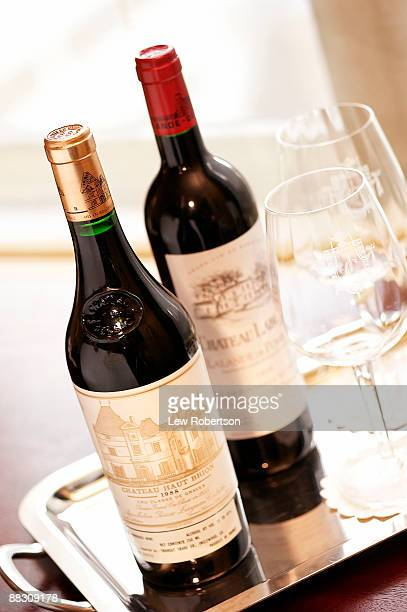 Bottles of French red wine