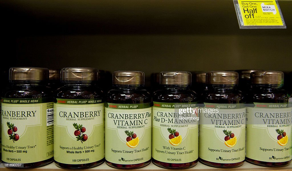 Bottles of GNC Holdings Inc. herbal supplement are displayed for sale at a store in New York, U.S., on Thursday, Feb. 14, 2013. GNC Holdings Inc., a retailer of health and wellness products, reported revenue increases of 10.9% in the fourth quarter and 17.3% for the full year. Photographer: Jin Lee/Bloomberg via Getty Images