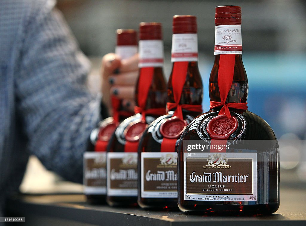 Bottles of Grand Marnier are on display during the exhibition 'World of coffee', on June 27, 2013, in Nice, southeastern France.