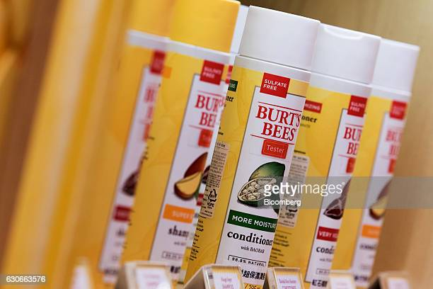 Bottles of hair products sit on display at a Burt's Bees Inc store a subsidiary of Clorax Co in Seoul South Korea on Thursday July 2 2015 At a time...