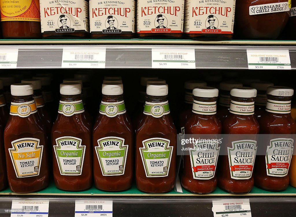 Bottles of Heinz ketchup are displayed on a shelf at Bryan's Market on February 14, 2013 in San Francisco, California. Billionaire investor Warren Buffett's Berkshire Hathaway is is teaming up with the Brazilian investment group 3G Capital to buy H.J. Heinz Co. for $23.3 billion.