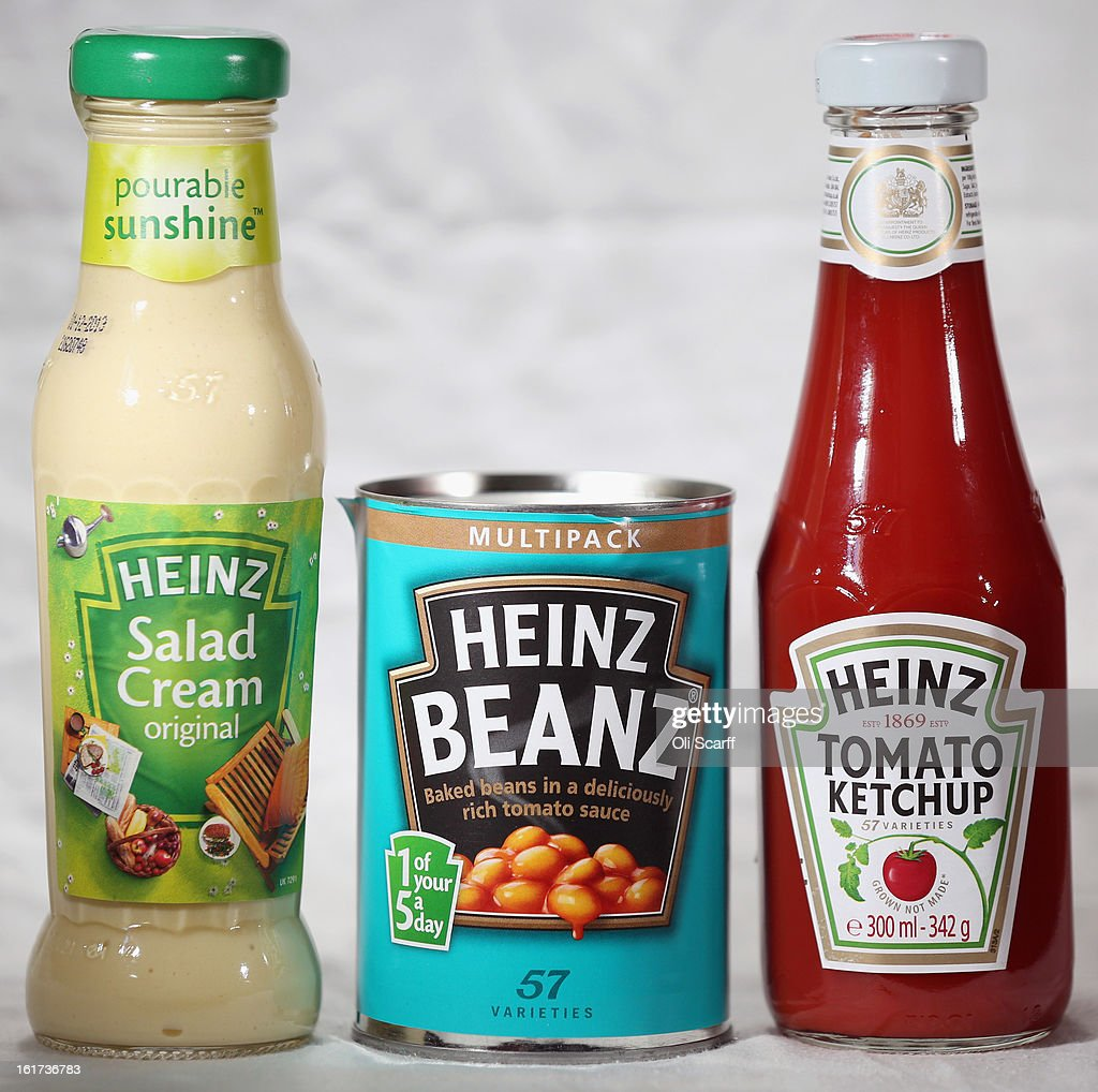 Bottles of H.J. Heinz Co. Tomato Ketchup and Salad Cream and a tin of Baked Beanz on February 15, 2013 in London, England. Billionaire investor Warren Buffett's Berkshire Hathaway is is teaming up with the Brazilian investment group 3G Capital to buy H.J. Heinz Co. for 23.3 billion USD.