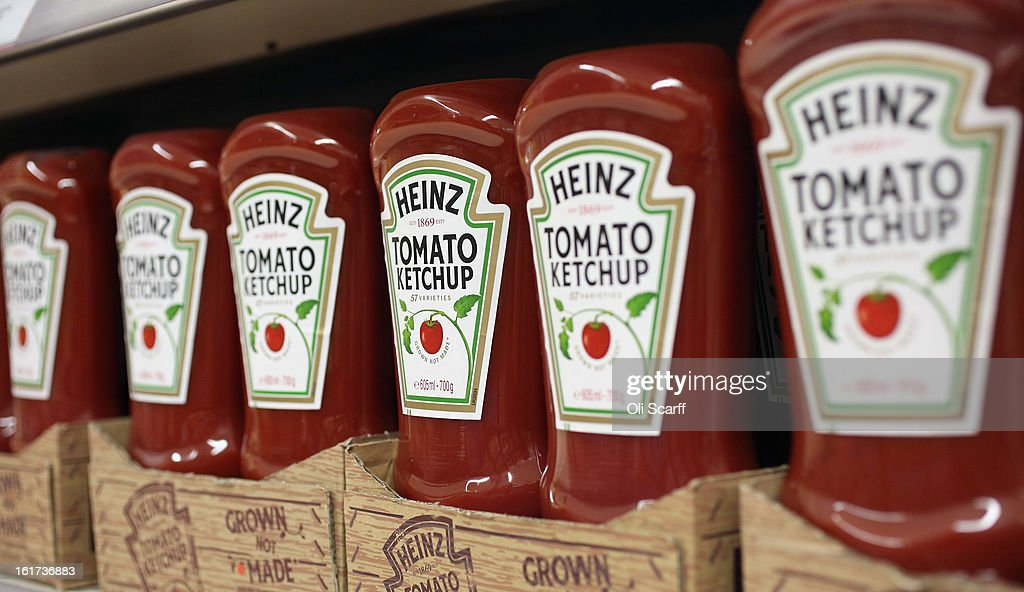 Bottles of H.J. Heinz Co. Tomato Ketchup on February 15, 2013 in London, England. Billionaire investor Warren Buffett's Berkshire Hathaway is is teaming up with the Brazilian investment group 3G Capital to buy H.J. Heinz Co. for 23.3 billion USD.