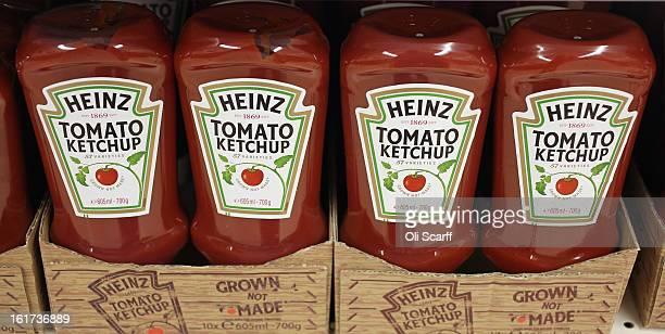 Bottles of HJ Heinz Co Tomato Ketchup on February 15 2013 in London England Billionaire investor Warren Buffett's Berkshire Hathaway is is teaming up...