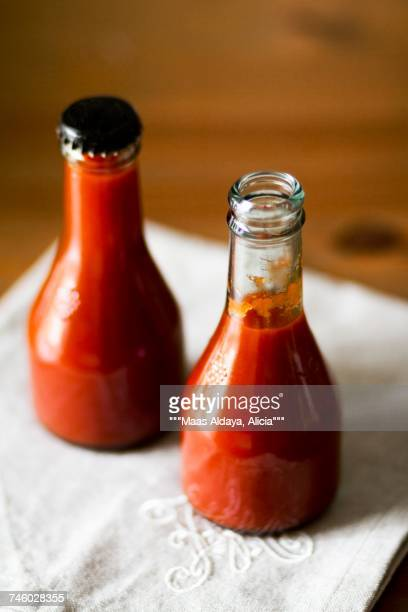 Bottles of home-made ketchup