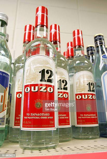 Bottles of imported Ouzo 12 Greek liquor are seen displayed at the Greek Columbus Foods market January 14 2005 in Des Plaines Illinois A US Commerce...
