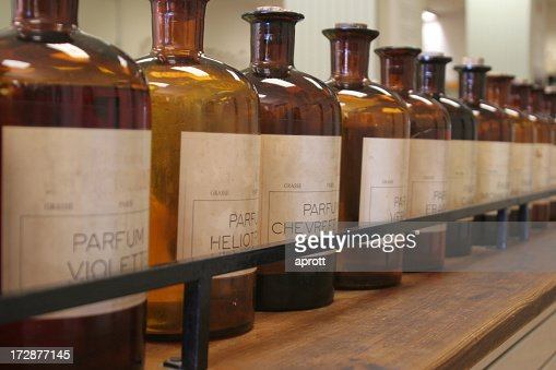 Bottles of ingredients for perfume