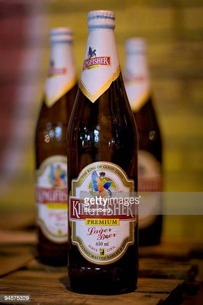 Bottles of Kingfisher Beer made by United Breweries Ltd are arranged for a photograph in a liquor store in New Delhi India March 18 2007
