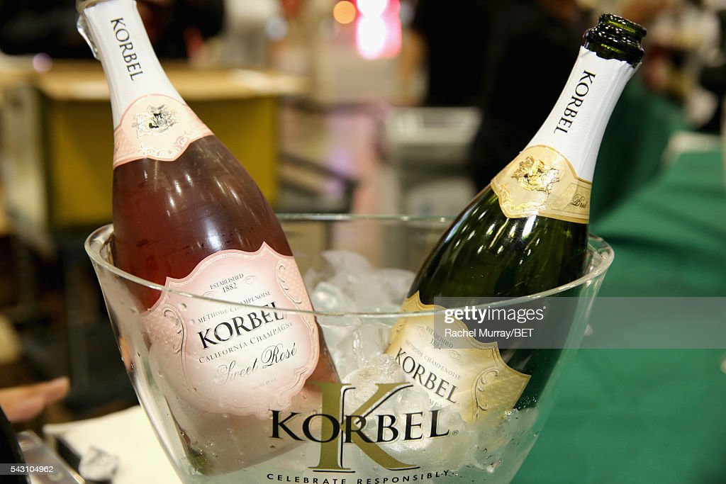 Bottles of Korbel champagne and a Korbel ice bucket are displayed at Fashion And Beauty @BETX presented by Progressive, Covergirl, Strength of Nature, Korbel and Macy's during the 2016 BET Experience on June 25, 2016 in Los Angeles, California.
