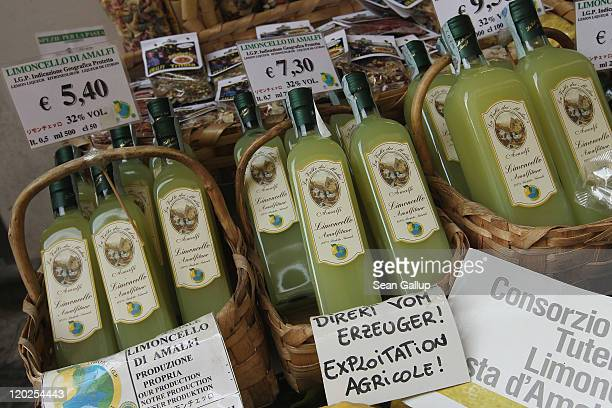 Bottles of limoncello a lemonbased liqueur and local specialty lie on display at a shop on July 29 2011 in Amalfi Italy The Amalfi coastline is among...