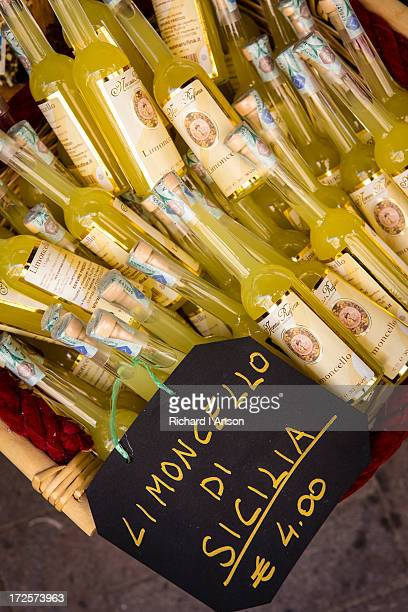 Bottles of Limoncello displayed outside shop
