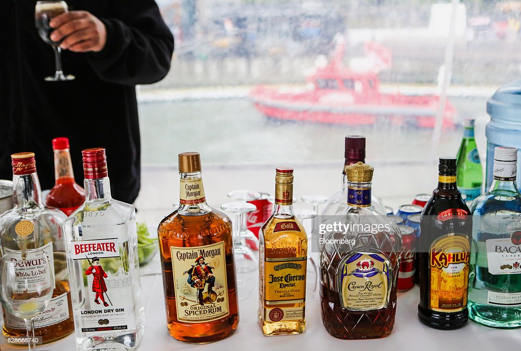Bottles of liquor are seen aboard the Land Rover hospitality boat ahead of the Louis Vuitton America's Cup World Series races in New York, U.S., on Friday, May 6, 2016. The America's Cup sailing races are held in New York City on the Hudson River for the first time since 1920. Photographer: Chris Goodney/Bloomberg via Getty Images