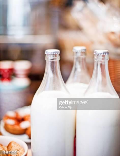 Bottles of milk in a market