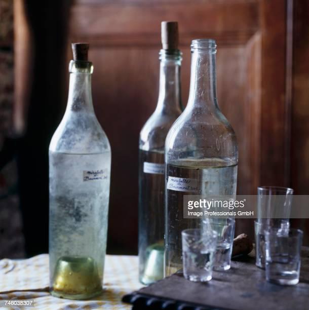 Bottles of mirabelle plum Eau-de vie
