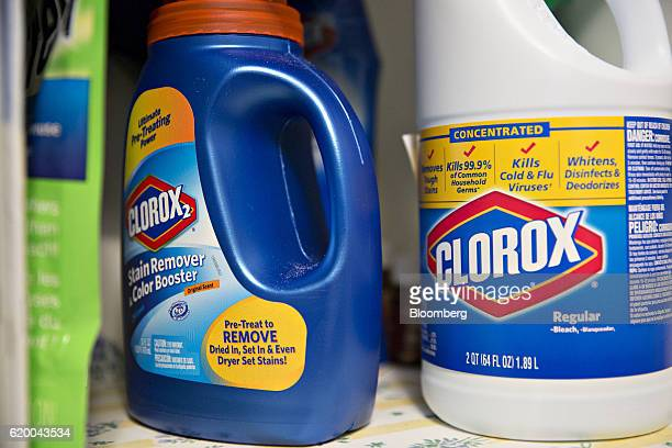 Bottles of of Clorox Co stain remover and bleach are arranged for a photograph in Princeton Illinois US on Wednesday Oct 26 2016 The Colorox Co is...