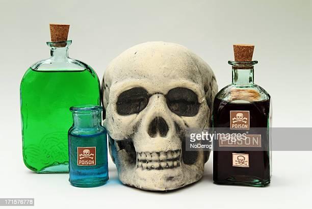 Bottles of poisons with skull