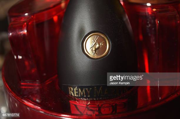 Bottles of Remy Martin VSOP on ice at the Remy Martin Culture Creators birthday celebration for Laz Alonso at Vandal on March 25 2017 in New York City