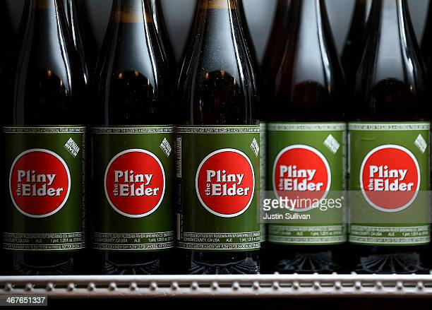 Bottles of Russian River Brewing Company Pliny the Elder beer sit in a cooler at Russian River Brewing Company on February 7 2014 in Santa Rosa...
