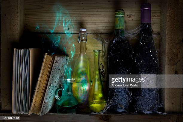 Bottles of spells and potions and books of magic