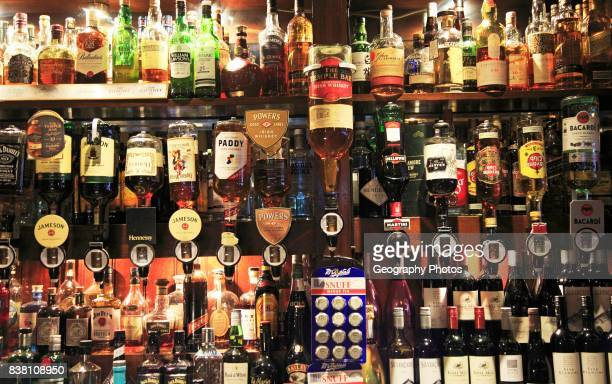 Bottles of spirits bar display inside the Temple Bar pub Dublin city center Ireland Republic of Ireland
