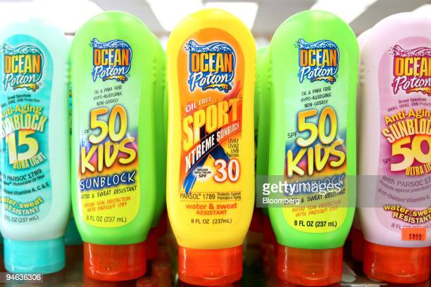 Bottles of sunscreen on sale at The Shirtey near the beach in Hollywood Florida Thursday Aug 23 2007 Sun lotions should carry new ratings letting...