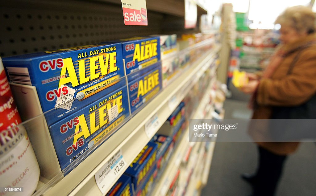 Bottles of the overthecounter pain reliever Aleve are seen in a CVS pharmacy December 21 2004 in New York City It has been reported that elderly...