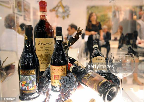 Bottles of Valpolicella wine are displayed on March 25 2012 at the Vinitaly exposition in Verona The 46th international wine and spirits exhibition...