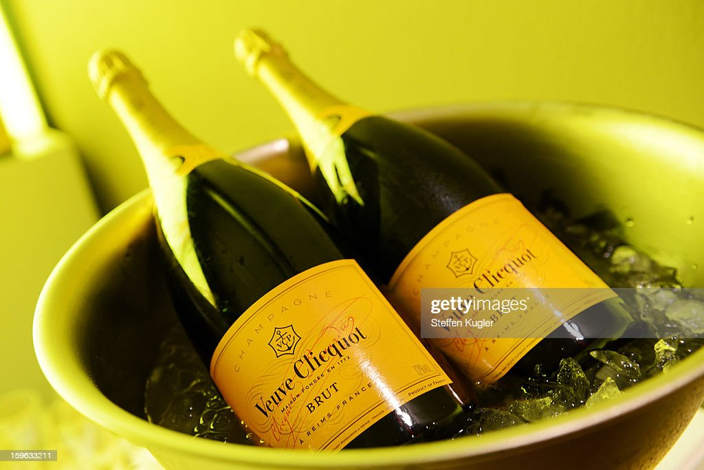 Bottles of Veuve Cicquot champagne are seen at the Burda Style Group Cocktailon January 17, 2013 in Berlin, Germany.