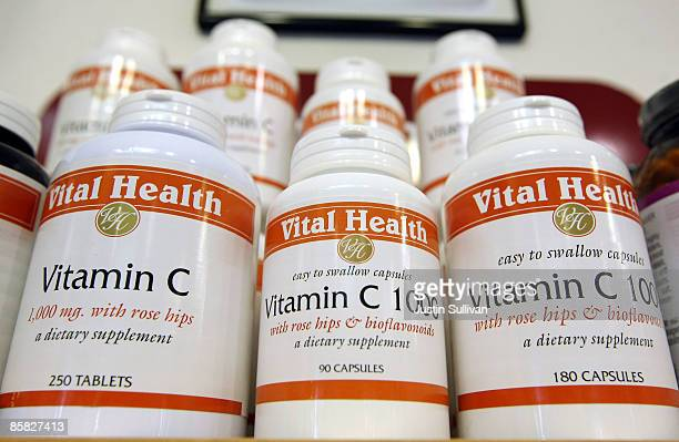 Bottles of vitamin C are displayed at Vibrant Health April 6 2009 in San Francisco California As the economy continues to falter many Americans are...