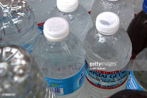 Bottles of water sit in a cooler at a hot dog stand on March 5 2014 in San Francisco California The San Francisco Board of Supervisors voted...