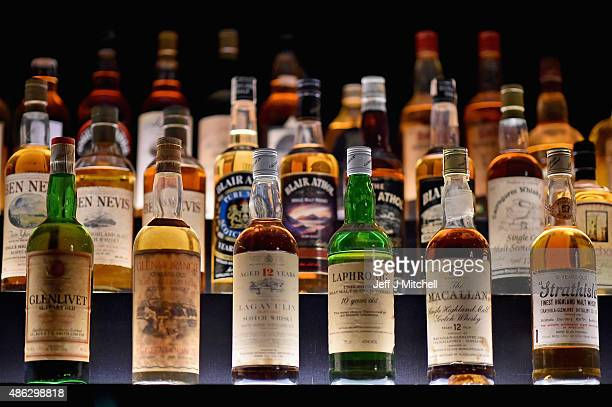 Bottles of whisky on display in the Diageo Claive Vidiz Collection the world's largest collection of Scottish Whisky on display at The Scotch Whisky...