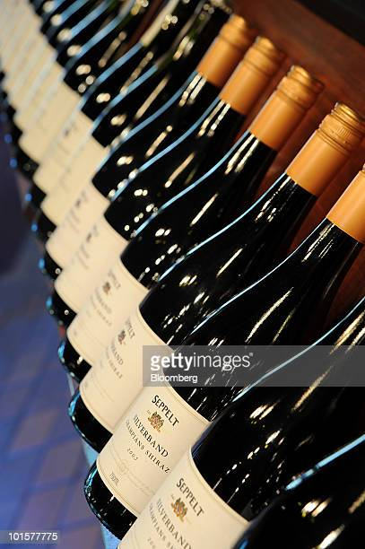 Bottles of wine are displayed for sale at the cellar door of Foster's Group Ltd's Seppelt vineyard in Great Western Australia on Wednesday June 2...