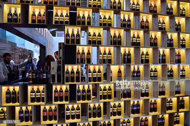 Bottles of wine are displayed on March 23 2015 at the Vinitaly exposition in Verona AFP PHOTO / GIUSEPPE CACACE