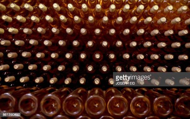 Bottles of wine are seen at a vinyard in Deir alAhmar in the Beakaa Valley one of the poorest regions in Lebanon and notorious for its cannabis...