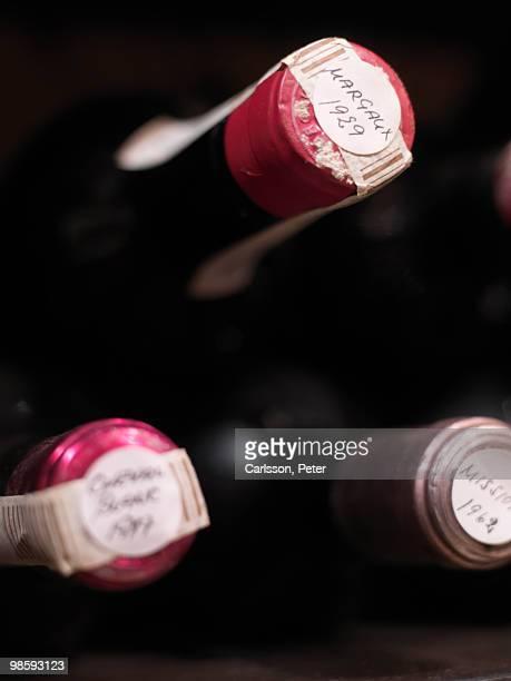 Bottles of wine, close-up, Sweden.