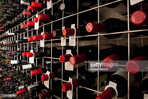 Bottles of wine in a cellar