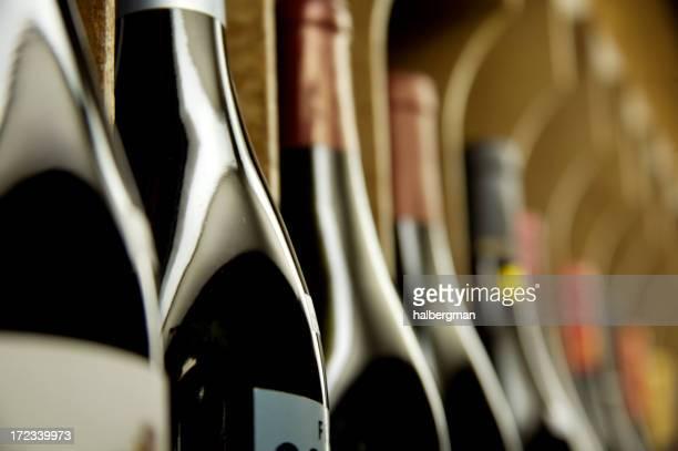 Bottles of wine on display
