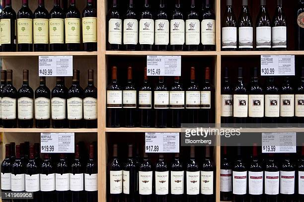 Bottles of wine sit on display at a BJ's Wholesale Club Inc store in Falls Church Virginia US on Tuesday March 27 2012 The US Bureau of Economic...
