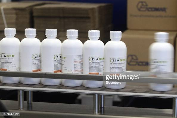 Bottles of Ziagen an HIV oral liquid medication move down the packaging line at the GlaxoSmithKline Canada Inc headquarters in Mississauga Ontario...