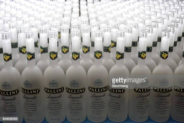 Bottles sit ready to be filled with limoncello at the Pallini liqueur and spirits factory in Rome Italy on Thursday March 20 2008 Italy's economy...