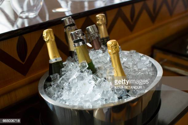 Bottles submerged in ice are seen at the Contemporary New York eatery Eleven Madison Park on April 05 2017 in New York The restaurant was crowned the...
