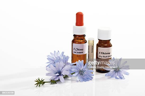 Bottles with Bach flower stock remedy, chicory (Cichorium intybus)