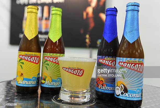 Bottles with bananamango nuts and coconut flavoured beer brewed in Belgium with 60 percent fruit ingredients from Brazil are on display on September...