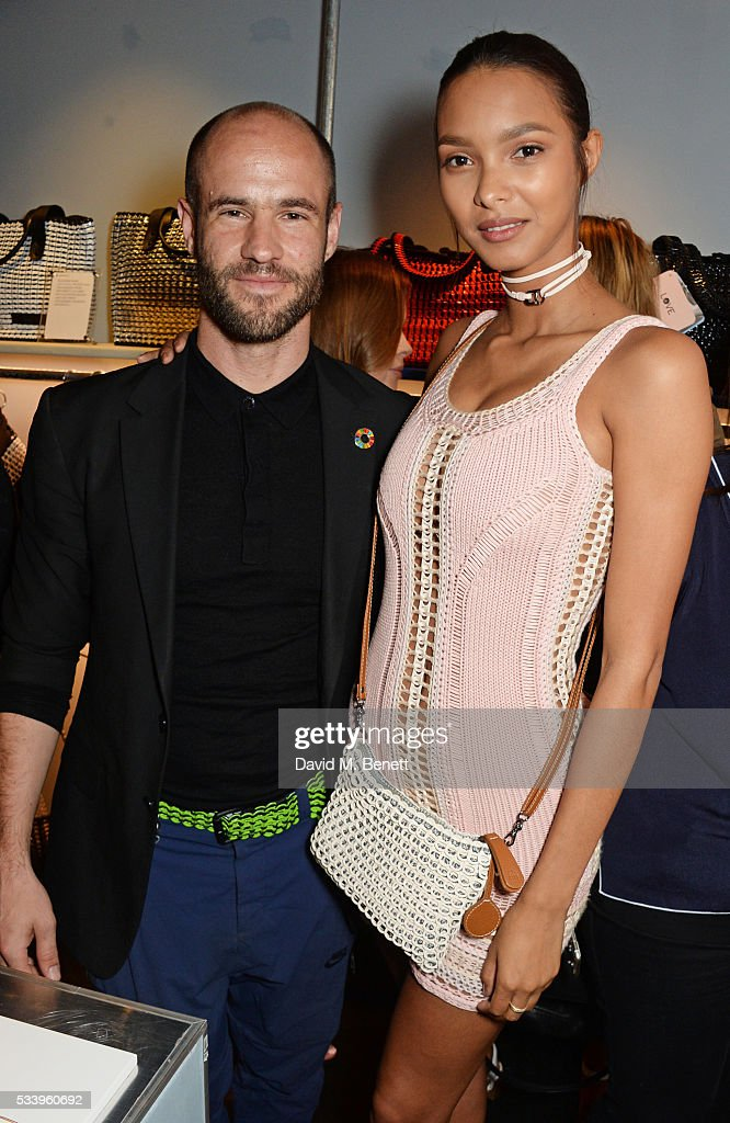 Bottletop co-founder Cameron Saul (L) and model Lais Ribeiro attend the Bottletop Regent Street store launch on May 24, 2016 in London, England.