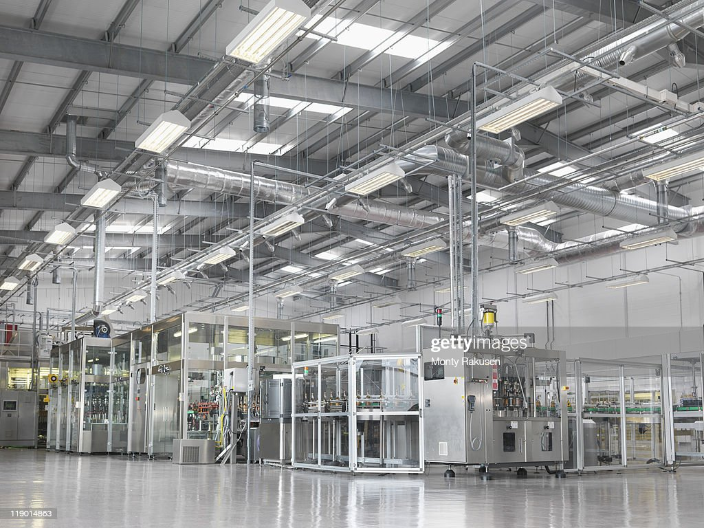 Bottling machinery in plant