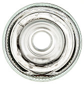 Bottom of a glass bottle on a white background