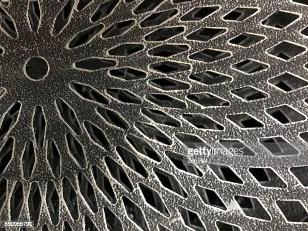 Bottom of a metal basket with diamond shaped design